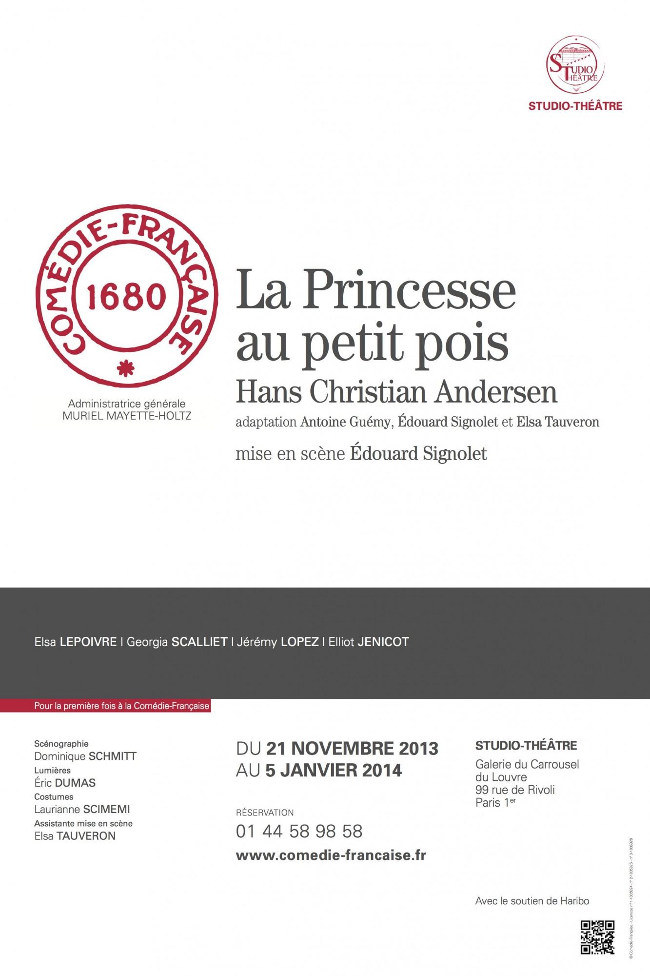 Affiche Princesse au petit pois - Comédie Française